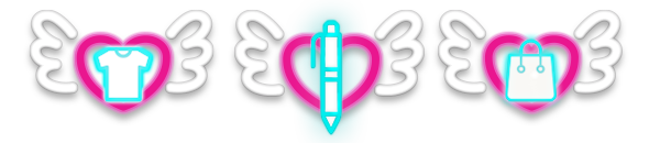 Flying heart with shirt, pen, and bag icons