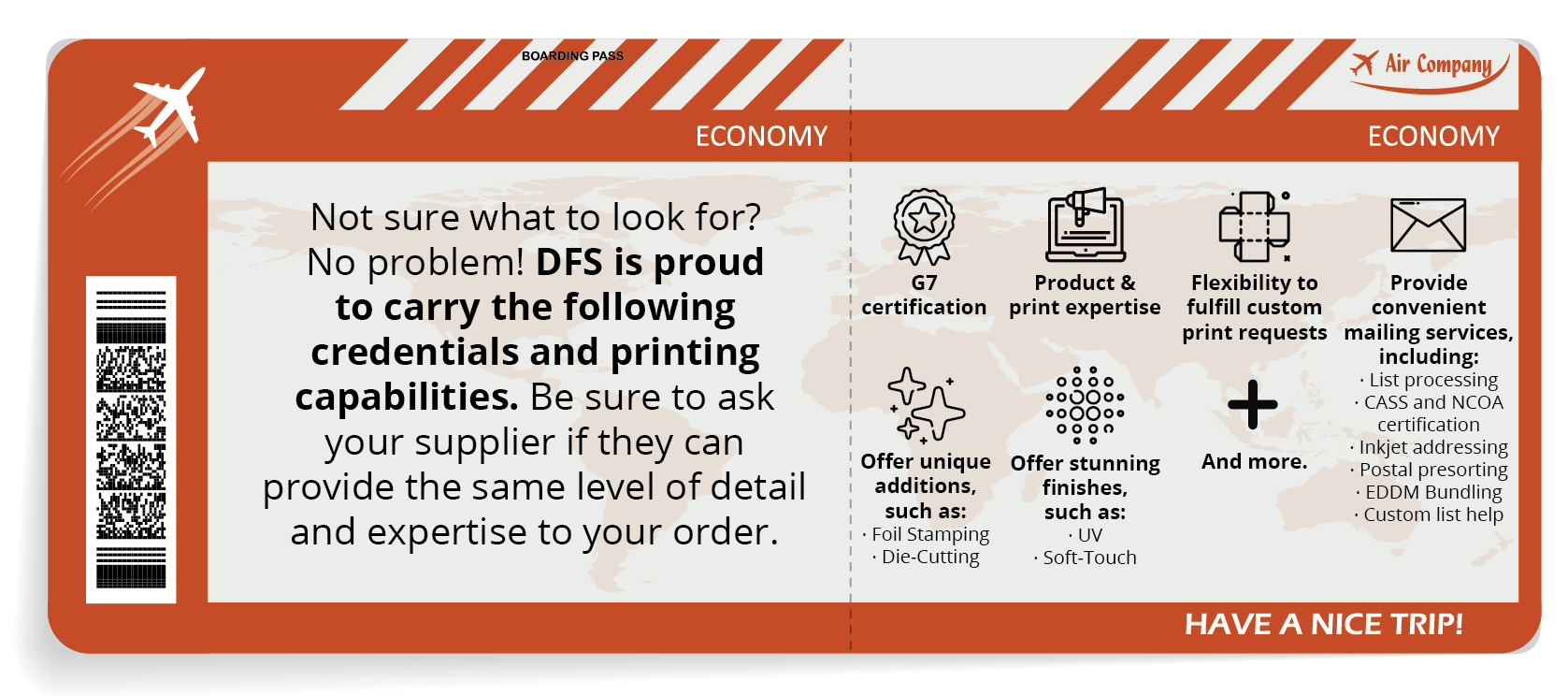 Boarding pass with DFS's printing capabilities and credentials