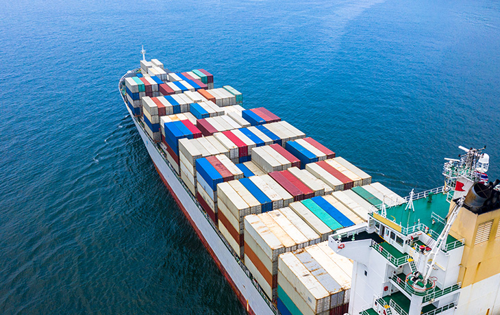commercial container ship underway
