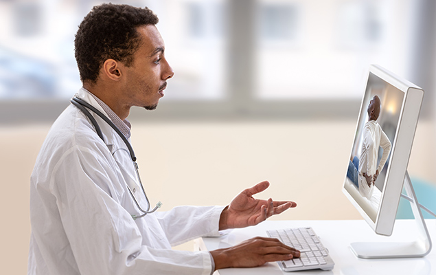 KVH Watch -A doctor using video conferencing to talk to a patient