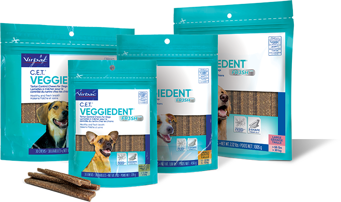 Photo showing bags of all 4 available sizes of C.E.T.® VEGGIEDENT® FR3SH® Tartar Control Chews for Dogs
