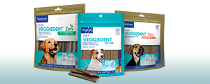Photo of packaging for all 3 varieties of C.E.T® VEGGIEDENT® Tartar Control Chews for Dogs