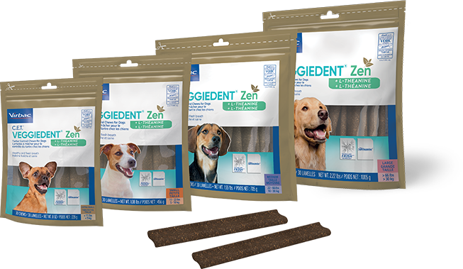 Photo showing bags of all 4 available sizes of C.E.T.® VEGGIEDENT® Zen Tartar Control Chews for Dogs