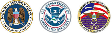 National Security Agency, United States of America badge. U S Department of Homeland Security badge. Defense Cyber Crime Center, Air Force Office of Special Investigation badge.
