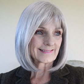 Happy lady with grey hair