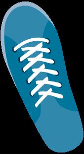 A blue left shoe