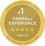1 in Overall Experience 2007-2021 Good Universities Guide Ratings