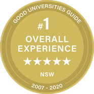Number 1 in Overall  Experience  in NSW - Good Universities Guide 5 Star Rating