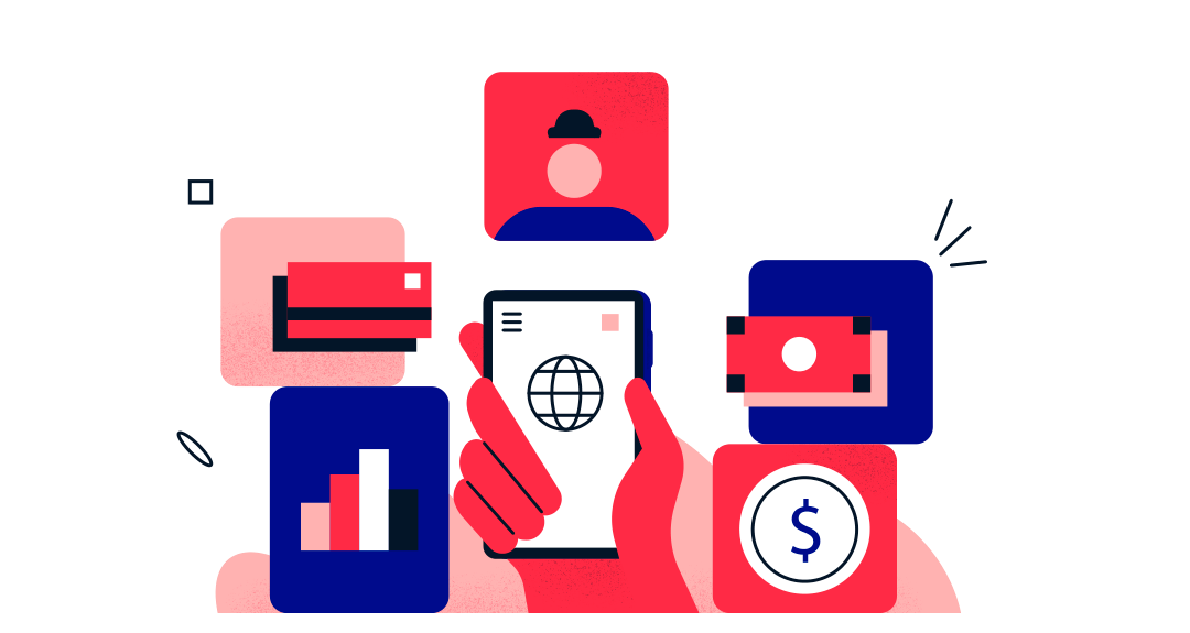 Red hand holding phone surrounded by credit card, money, graph, and person icons