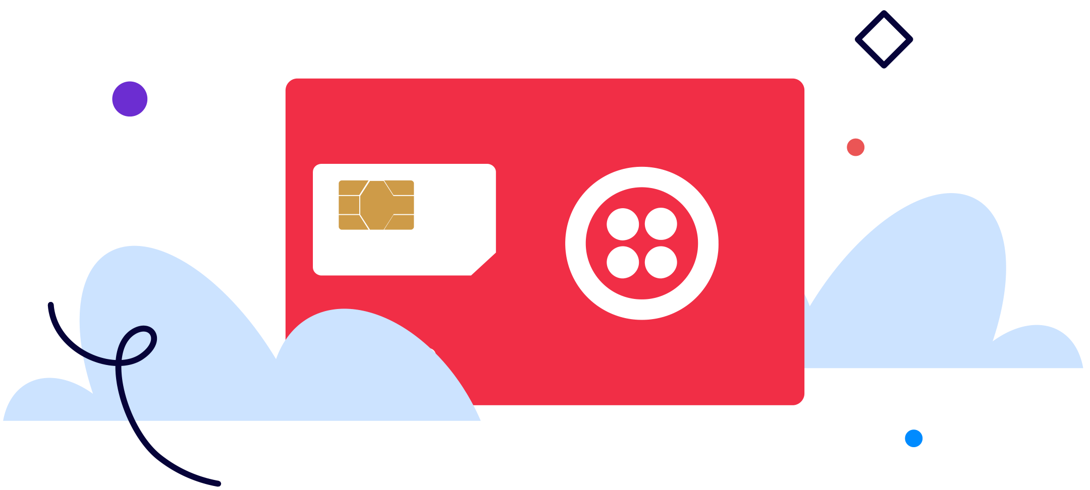 Red Twilio Super Sim Card with  cloud illustrations surrounding it