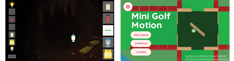 """Screenshots from """"Light Up The Cave"""" and """"Mini Golf Motion"""" gameplay"""