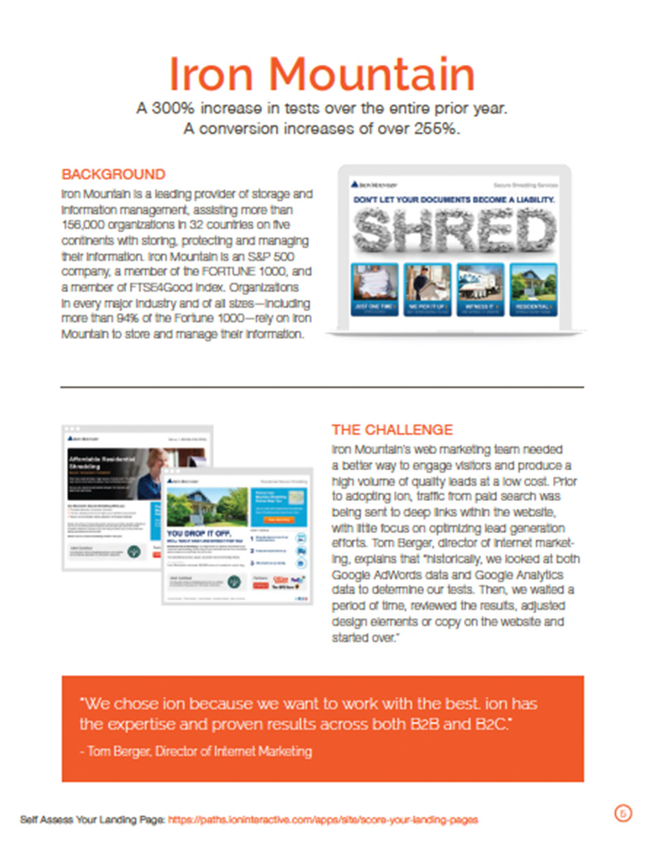 Iron Mountain Landing Pages Case study