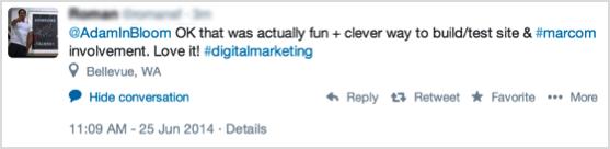 BloomReach interactive Content tweet