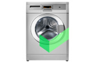 Silver front-loading washing machine with Cinch green checkmark