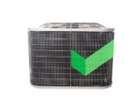 Gray A/C unit with Cinch green checkmark