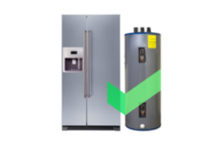 Side-by-side door refrigerator and heater unit with Cinch green checkmark