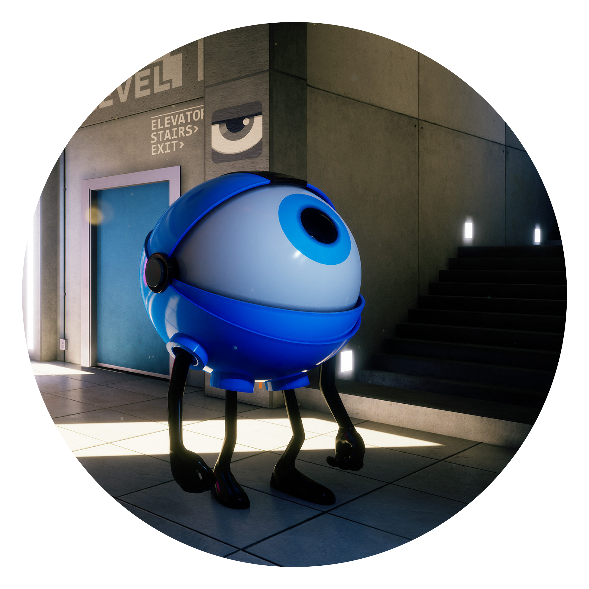 3D render by Steve Talkowski of creature with a giant blue eyeball as a head in hallway