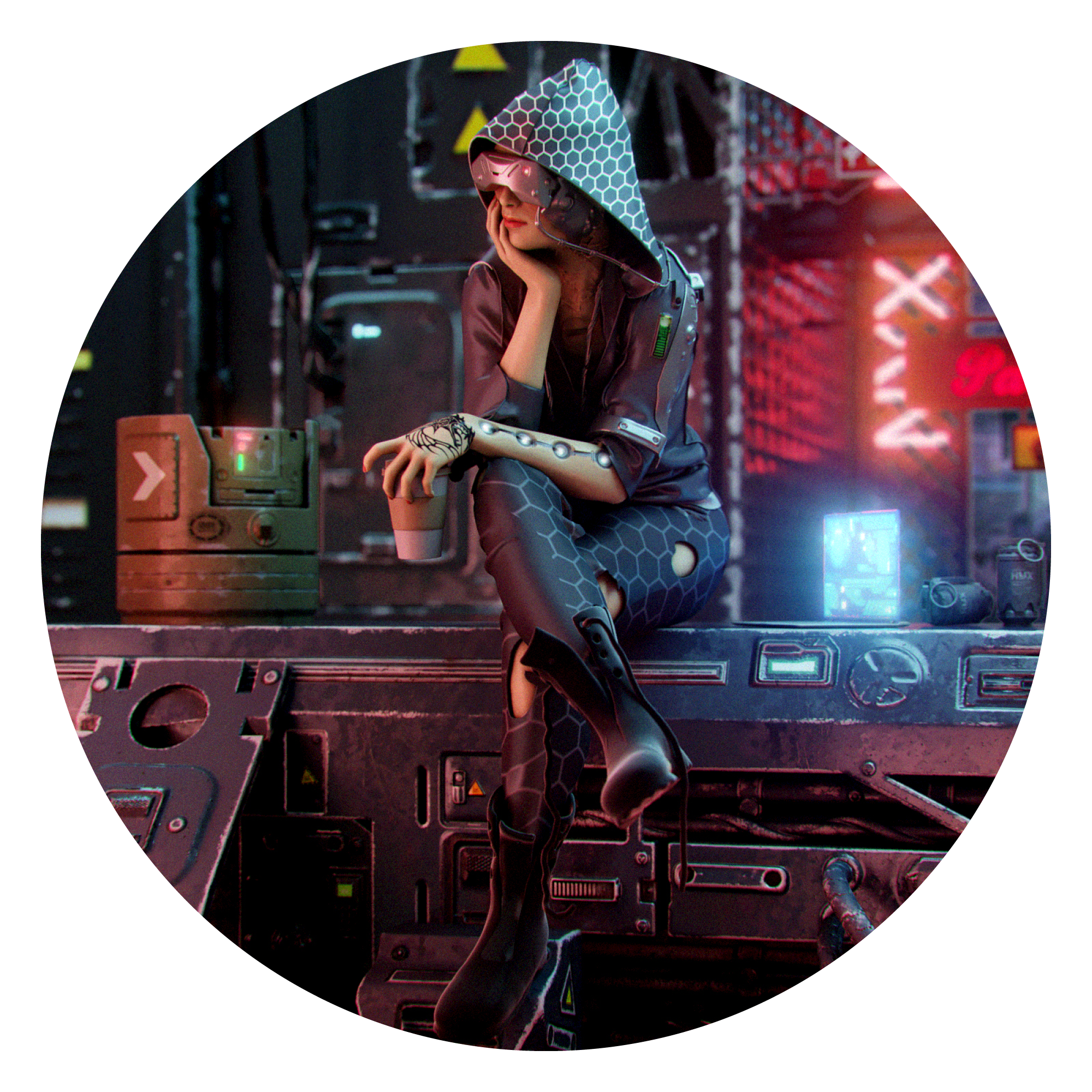 3D render by Volkan Kacar of Cyberpunk girl sitting with a coffee in hand