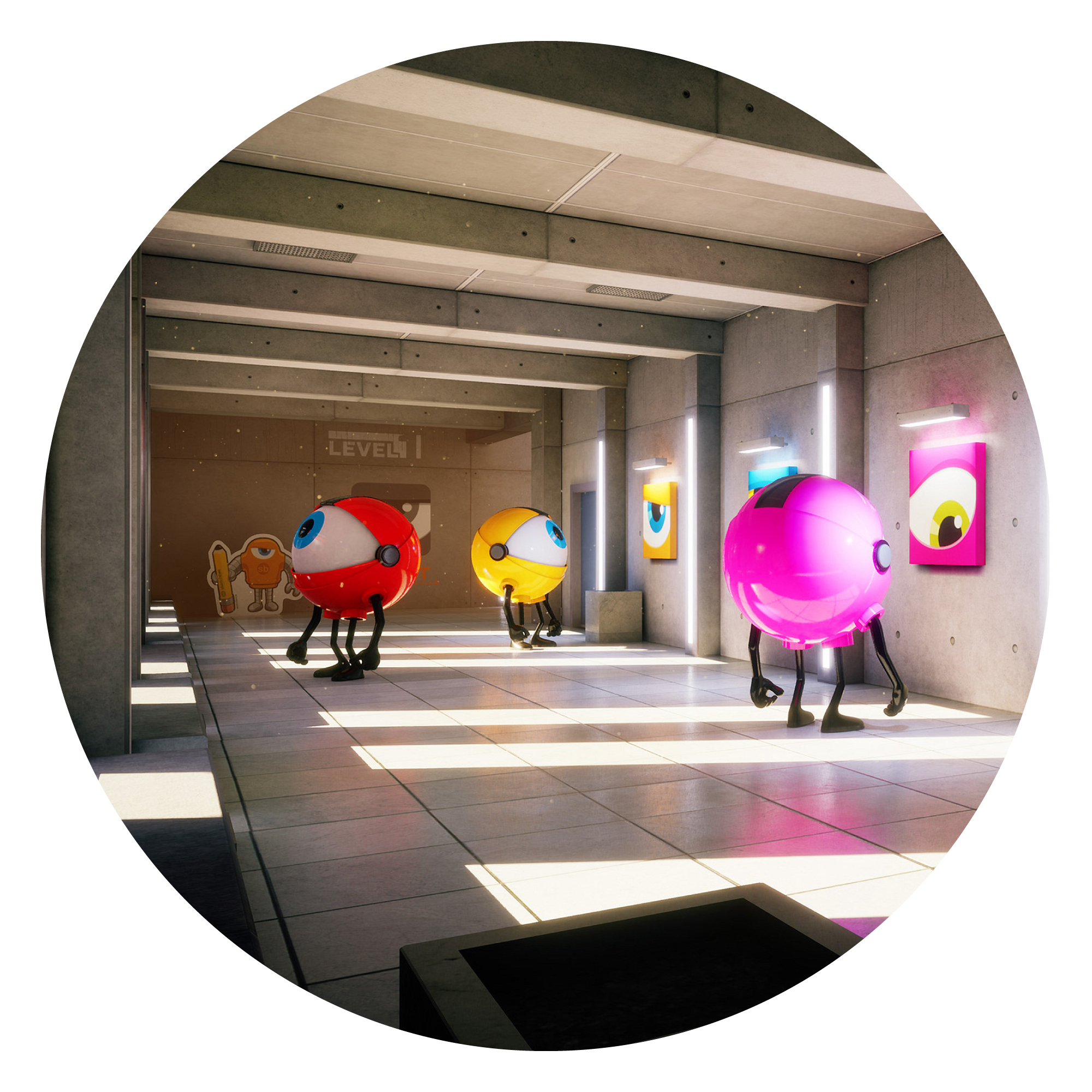 3D render by Steve Talkowski of 3 creatures with a giant eyeballs as heads in hallway
