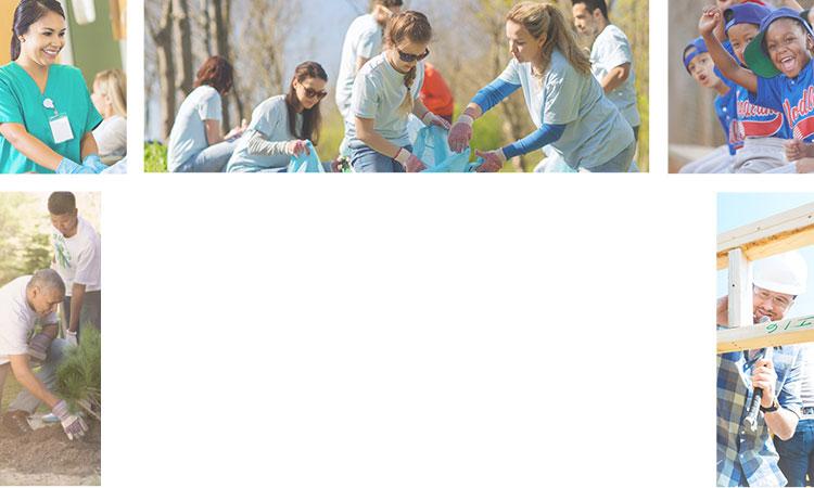 Montage of community involvement photos (little league team, nurse, volunteering, park beautification, dog)