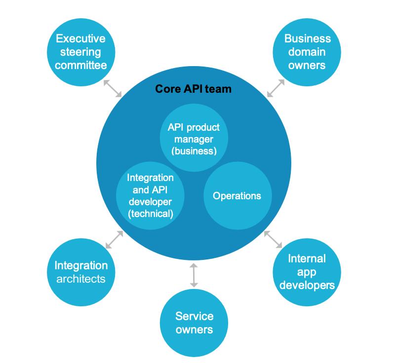 High-level organizational structure for an API development team.