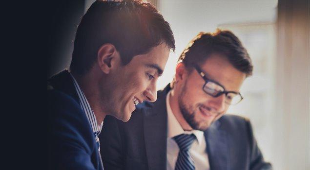 collaborating businessmen