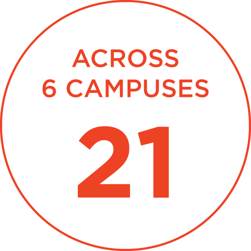 21 across 6 campuses