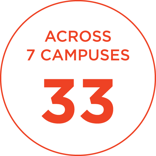 33 across 7 campuses