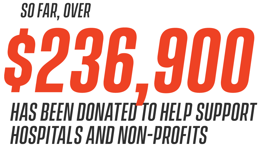 So far, over $220,000 has been donated to help support hospitals and non-profits